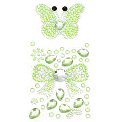 Self-adhesive stones acrylic butterfly and ribbon color green