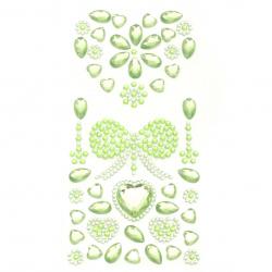 Self-adhesive stones acrylic heart and ribbon color green