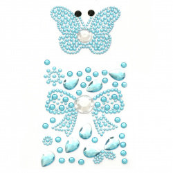 Self-adhesive stones acrylic butterfly and ribbon color blue