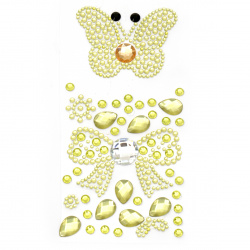Self-adhesive stones acrylic butterfly and ribbon color yellow