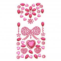 Pietre autoadezive inimă acrilică și culoare funda ciclamen