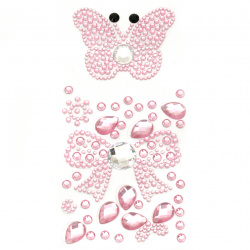 Self-adhesive stones acrylic butterfly and ribbon color pink
