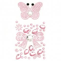 Pietre autoadezive fluture acrilic și culoare funda roz