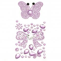 Self-adhesive stones acrylic butterfly and ribbon color purple