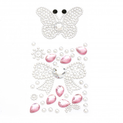 Self-adhesive stones acrylic butterfly and silver ribbon