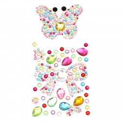 Self-adhesive stones acrylic butterfly and ribbon color mix