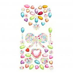Self-adhesive stones acrylic heart and ribbon color mix