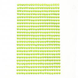 Самозалепващи камъни акрил 4 мм цвят зелен светло - 437 броя