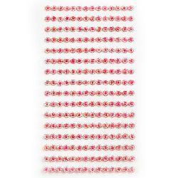 Pietre  flori autoadezive acrilice 4 mm curcubeu roz -224 bucăți