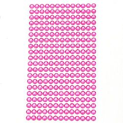Sheet Self-Adhesive Acrylic Rhinestones Decoration DIY 6 mm color pink -260 pieces