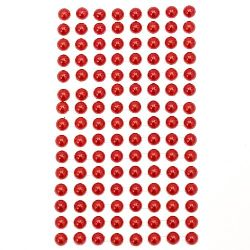 Decoration Self-Adhesive Pearl Hemispheres Flatback 8 mm red - 207 pieces