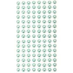 Самозалепващи перли полусфери 8 мм тюркоаз - 207 броя