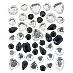 Self-Adhesive Acrylic Rhinestones Flatback DIY different colors white and black