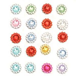 Self-adhesive flowers acrylic 8 mm assortment -20 pieces