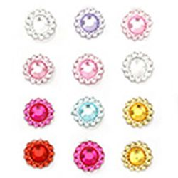 Adhesive flowers acrylic 10 mm assortment -12 pieces