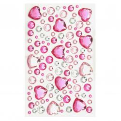 Самозалепващи камъни акрил различни размери микс цвят розово и бяло