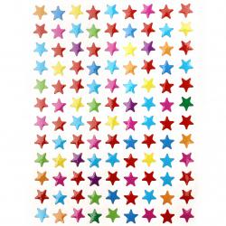 Самозалепващи стикери 8 мм звезди микс 10 листа x 108 броя