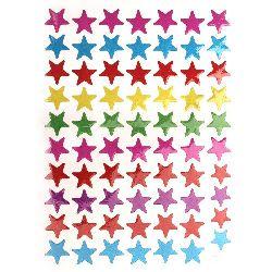 Самозалепващи стикери 11 мм звезди микс 10 листа x 70 броя