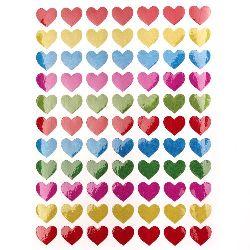 Αυτοκόλλητα καρδιές 11 mm μιξ 10 φύλλα x 77 κομμάτια
