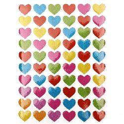 Αυτοκόλλητα 13 mm καρδιές μιξ 10 φύλλα x 60 κομμάτια