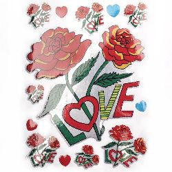 Αυτοκόλλητα τριαντάφυλλα με επιγραφή LOVE 10 φύλλα
