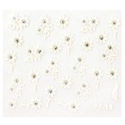 Αυτοκόλλητα νυχιών τρισδιάστατα λουλούδια με χρυσόσκονη ASSORTED λευκό