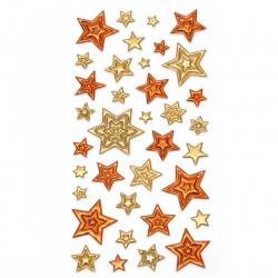 Αυτοκόλλητα 3D αστέρια 10 ~ 35x10 ~ 35 mm