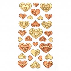 Αυτοκόλλητα 3D καρδιές 12 ~ 33x11 ~ 30 mm