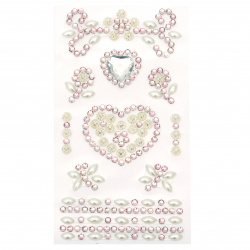 Self-adhesive stones acrylic and pearl Hearts color white and purple