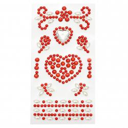 Pietre autoadezive acrilice și perlate Inimile de culoare alb și roșu