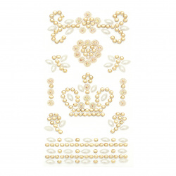 Self-adhesive stones acrylic and pearl Crown color white and gold