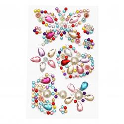 Pietre autoadezive acrilice și perlate Butterfly Heart Crown color mix