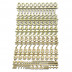 Adhesive stickers Numbers and signs 14x20 mm gold color - 160 pieces