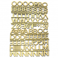 Adhesive stickers Letters and signs 18x25 mm gold color - 115 pieces