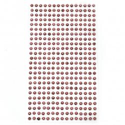 Самозалепващи перли полусфери метализе 4 мм циклама - 360 броя