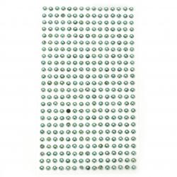 Self-adhesive pearls hemispheres metallized 4 mm turquoise - 360 pieces