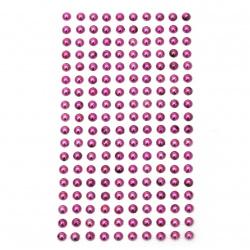 Pietre perle emisfere metalice 6 mm ciclamen - 180 bucăți