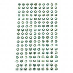 Самозалепващи перли полусфери метализе 6 мм тюркоаз - 180 броя