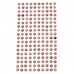 Self-adhesive pearls hemispheres metallized 6 mm pink light - 180 pieces