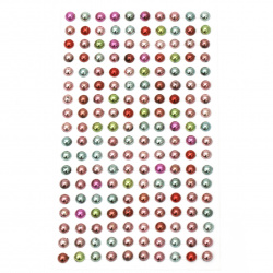 Self-adhesive pearls hemispheres metalized 6 mm colored - 180 pieces