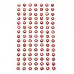 Pietre perle emisferele metalizate 8 mm roz deschis - 105 bucăți