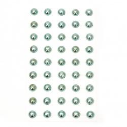 Самозалепващи перли полусфери метализе 10 мм тюркоаз - 45 броя