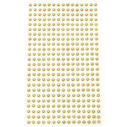 Self-adhesive pearls hemispheres metal 4 mm gold color - 360 pieces
