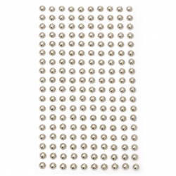 Self-adhesive pearls hemispheres metalize 6 mm color silver - 180 pieces