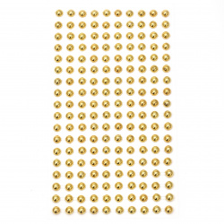 Self-adhesive pearls hemispheres metalize 6 mm gold color - 180 pieces