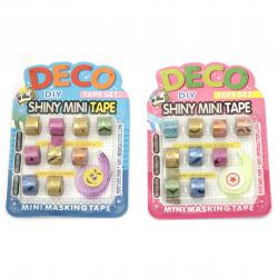 Комплект мини тиксорезачка и тиксо за декорация 12 мм цветно с брокат 9 броя