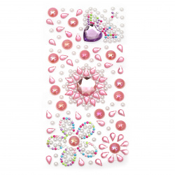 Self-adhesive stones acrylic and pearl 2 ± 18 mm pink