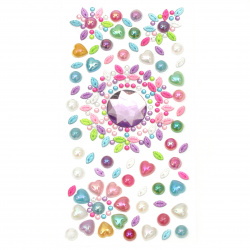 Self-adhesive stones acrylic and pearl 3 ± 25 mm colored