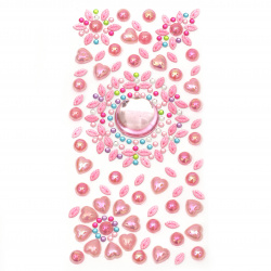 Self-adhesive stones acrylic and pearl 3 ± 25 mm pink