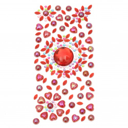 Self-adhesive stones acrylic and pearl 3 ± 25 mm red